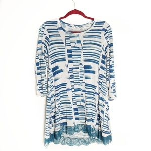 LOGO by Lori Goldstein Blue Abstract Tunic Top